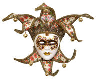 Isolated Venetian joker mask. With bells Royalty Free Stock Images