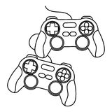 Isolated videogame control silhouette. Videogame control silhouette icon. Game play leisure gaming and controller theme. Isolated design. Vector illustration Stock Photography