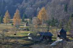 Isolated old wooden houses Royalty Free Stock Images