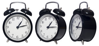 Isolated Vintage Alarm black Clock Stock Image