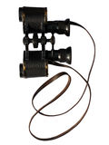 Isolated Vintage Binocular. A vintage binocular with leather belt on a white background (with path Royalty Free Stock Photo
