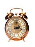 Isolated vintage brass alarm-clock Stock Photo