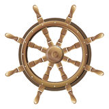 Isolated vintage brown wooden boat steering wheel. On white background Royalty Free Stock Photography