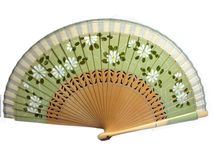 Isolated vintage celluloid green decorative hand fan. Isolated vintage commercial celluloid green decorative hand fan Royalty Free Stock Image