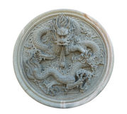 Isolated vintage Chinese stone dragon statue Royalty Free Stock Photo
