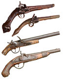 Isolated vintage firearm pistols. Of XIVII-XIX centuries on white background Royalty Free Stock Photos