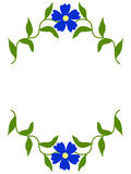 Isolated vintage floral banner  with blue  flowers Royalty Free Stock Image