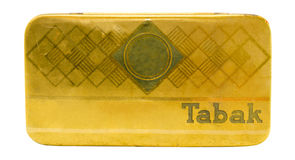 Isolated Vintage Golden German Tobacco Tin Royalty Free Stock Image