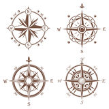 Isolated vintage or old compass rose icons Royalty Free Stock Photos