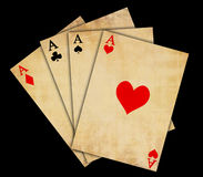 Isolated vintage playing cards. On a black background Stock Photography
