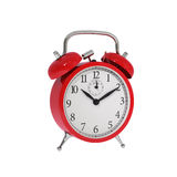 Isolated vintage red classic alarm clock Stock Photography