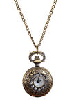 Isolated Vintage style woman pocket watch necklace. On white background royalty free stock photography