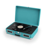 Isolated vintage turqoise turntable Royalty Free Stock Photo