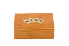 Isolated vintage wooden playing cards box Stock Photography