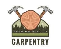 Isolated Vintage Woodwork Carpentry Logo Badge Emblem Illustration. Suitable for workshop, carpentry, furniture, architecture, craftsman, and other industrial royalty free illustration