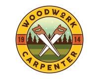 Isolated Vintage Woodwork Carpentry Logo Badge Emblem Illustration. Suitable for workshop, carpentry, furniture, architecture, craftsman, and other industrial stock illustration
