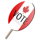 Isolated voting paddle. With a flag of Canada, vector illustration Royalty Free Stock Photo