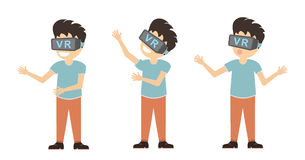Isolated vr man. Royalty Free Stock Image