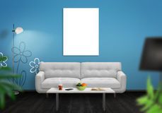 Isolated wall art canvas wall. Living room interior with sofa, lamp, table Royalty Free Stock Photo