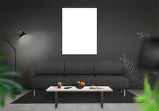 Isolated wall art canvas wall. Living room interior with sofa, lamp, table Stock Images