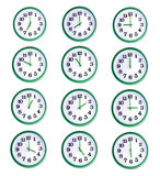 Isolated wall clock collage. Isolated office wall clock collage of twelve objects Royalty Free Stock Photos
