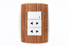 Isolated wall socket, plug, switch, contact box Royalty Free Stock Photography