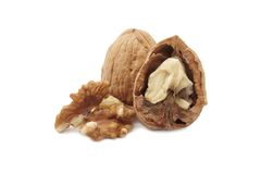 Isolated walnuts Royalty Free Stock Photos