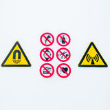 Isolated Warning caution signs at the entrance to the controlled radioactive area lightbox in hospital. Warning caution signs at the entrance to the controlled Royalty Free Stock Photos