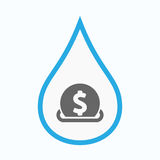 Isolated water drop with  a dollar coin entering in a moneybox. Illustration of an isolated line art water drop with  a dollar coin entering in a moneybox Royalty Free Stock Photography