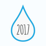 Isolated water drop with  a 2017 year  number icon. Illustration of an isolated line art water drop with  a 2017 year  number icon Stock Photos