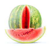 Isolated water melon whole and slice Stock Photos