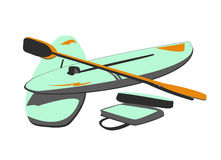 Isolated Water Sport Baords & Paddles. Vector Illustration of Water Boards & Paddles Royalty Free Stock Image