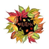 Watercolor autumn frame. Isolated watercolor autumn greeting card Stock Image