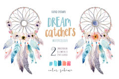 Isolated Watercolor decoration bohemian dreamcatcher. Boho feathers decoration. Native dream chic design. Mystery etnic tribal pr. Int. American culture design vector illustration