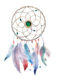 Isolated Watercolor decoration dreamcatcher with beads and boho Stock Photos