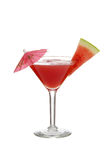 Isolated watermelon martini with slice and umbrella Royalty Free Stock Images