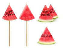 Isolated watermelon pieces Royalty Free Stock Images