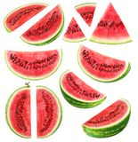 Isolated watermelon pieces Royalty Free Stock Photography