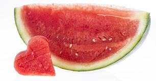 Isolated Watermelon Pieces Stock Images