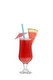 Isolated watermelon smoothie with umbrella and straw Stock Photography