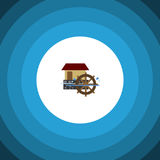 Isolated Watermill Flat Icon. Wheel Vector Element Can Be Used For Watermill, Wheel, Waterwheel Design Concept. Wheel Vector Element Can Be Used For Watermill Royalty Free Stock Photography