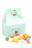 Isolated wedding bonbonniere with candies and wedding rings Royalty Free Stock Photos