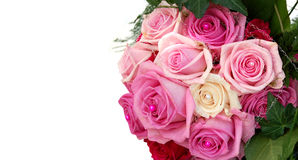 Isolated wedding bouquet. Close up of isolated pink wedding bouquet Stock Photo