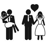 Wedding couple icons. Isolated wedding couple icons from white background Royalty Free Stock Image