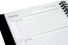 Isolated Weekly Planner. Weekly planner Monday and Tuesday isolated on white background royalty free stock photography