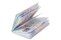 Isolated, well used passport Stock Photos