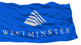 Isolated Westminster City Flag, United States of America. Isolated Westminster City Flag, City of Colorado State, Waving on White Background, High Resolution Royalty Free Stock Images