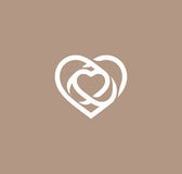 Isolated white abstract monoline heart logo. Love logotypes. St. Valentines day icon. Wedding symbol. Amour sign Stock Image