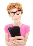 Funny guy using smart phone Stock Photos