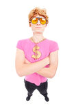 Funny macho guy with gold chain Stock Photography